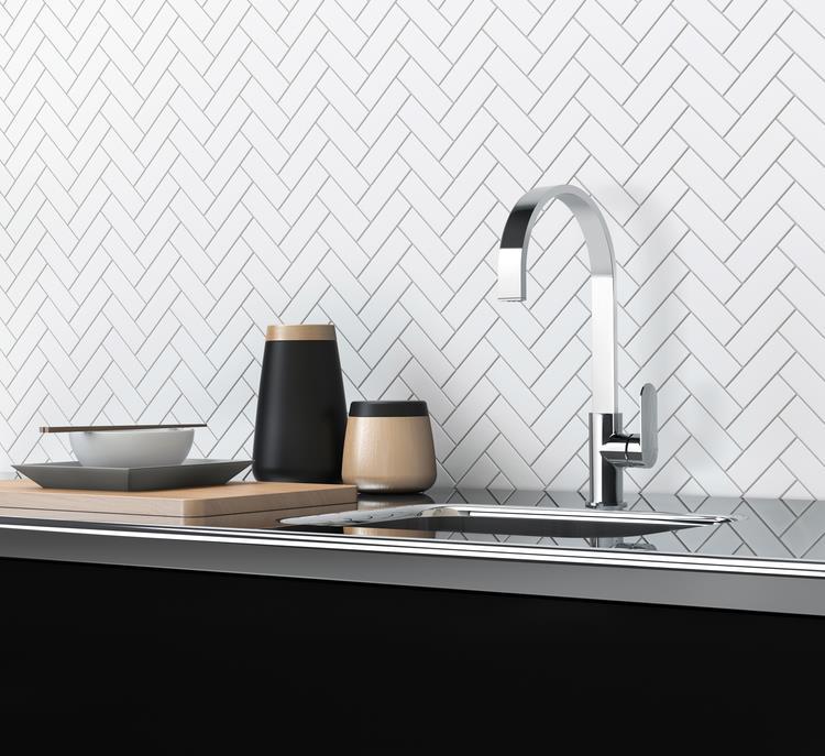 Beautiful white splashback tile from Geelong Tiles and Bathware