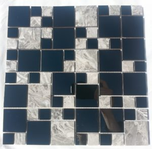 This tile is made from stainless steel and marble a unique tile.