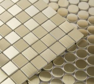 Metal Brass 20X20 Brushed Mosaic great for bathrooms and kitchen splashbacks
