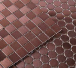 These metal tiles are made from copper. Great for splashbacks