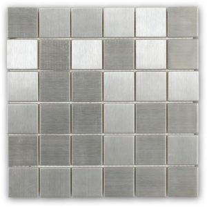 Metal Silver Stainless Steel 2x2 Square Tile