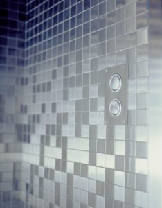 brushed stainless steel tile