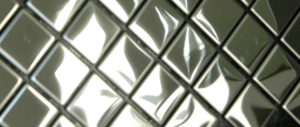 This metal tile is a stainless steel diamond shape. Mainly used in bathrooms and kitchen splashbacks.
