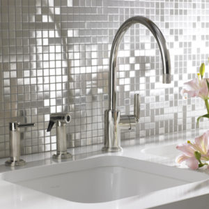 A stainless steel mosaic tile - use in kitchen & bathroom splashbacks