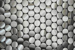 Penny Stainless steel tiles used in bathrooms and kitchens