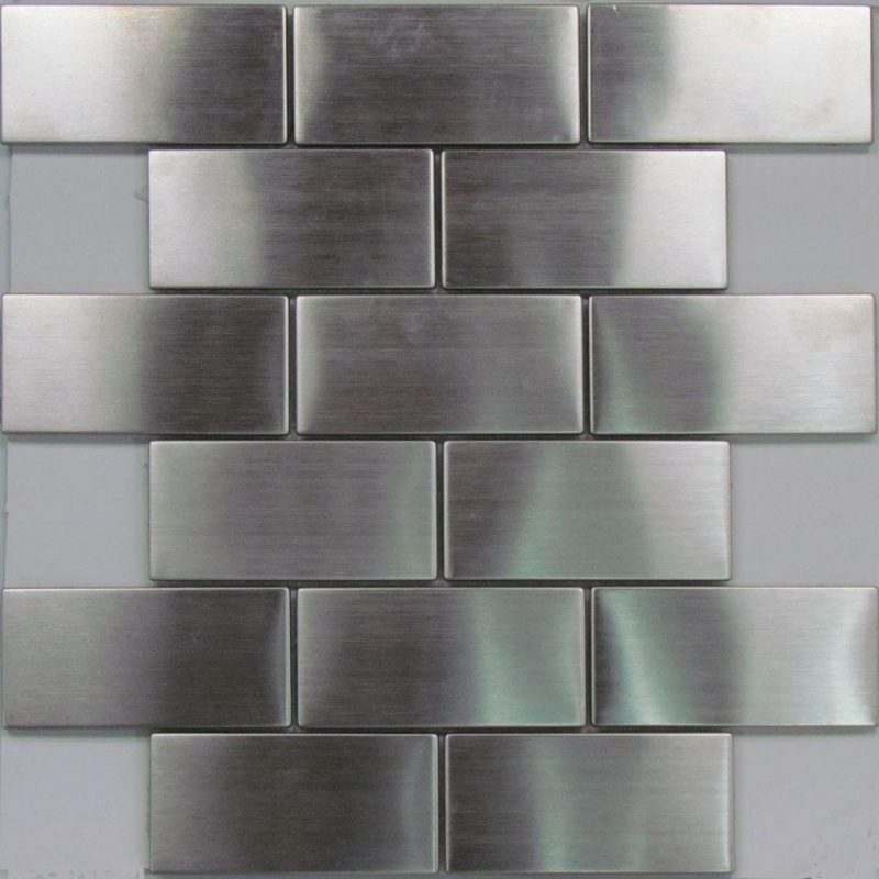 Beautiful stainless steel mosaic subway tile. Perfect metal tile for your kitchen splashback.