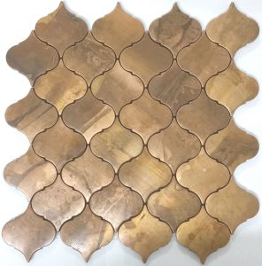 Another example of the perfect metal mosaic splashback tile. Made from copper.