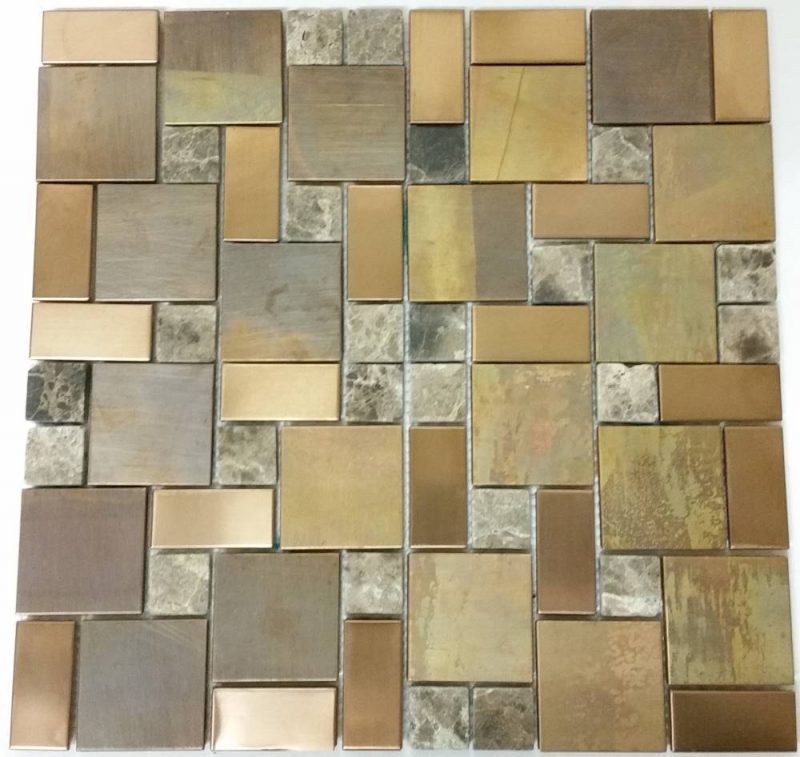 Copper Mixed Stone Mosaic Tile Kitchen Splashback