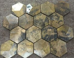 3d copper hexagonal mosaic wall tile.
