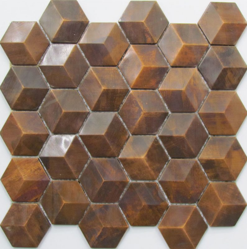 Metal hexagonal wall tile perfect for kitchen and bathroom splashbacks. The tile is made from copper.