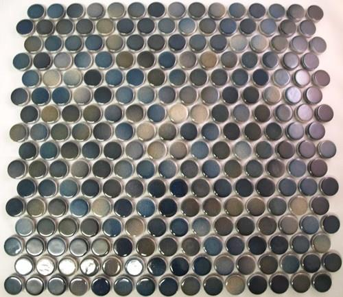 Blue Green Penny Porcelain Splashback Mosaic Wall Tile