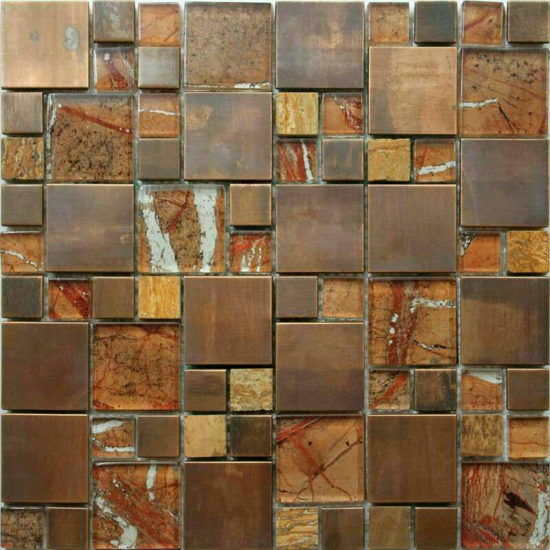 A copper and glass wall tile used mainly in kitchens and bathrooms in a splashback. This is a metal and glass tile.