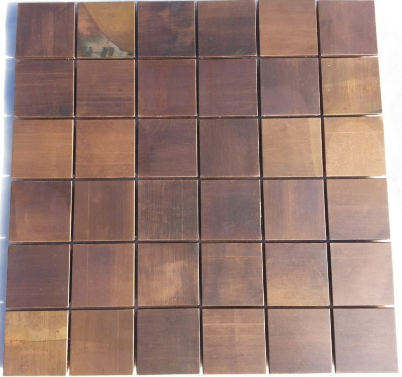 Copper mosaic wall tile perfect for kitchen and bathroom splashbacks. The tile is made from copper.