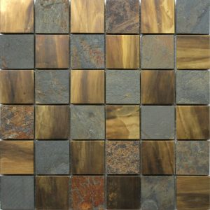 A metal wall tile used mainly as a kitchen or bathroom splashback. This tile is made from copper and stone.