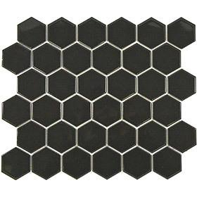 A black hexagon mosaic tile perfect for kitchen and bathroom splashbacks