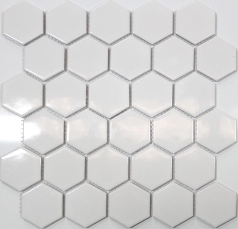 A gloss white mosaic tile perfect for use as a kitchen or bathroom splashback.