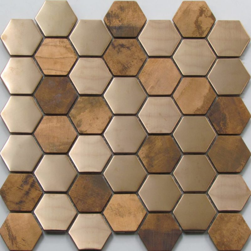Hexagonal copper mosaic wall tile. Perfect for the use as a kitchen and bathroom splashback.