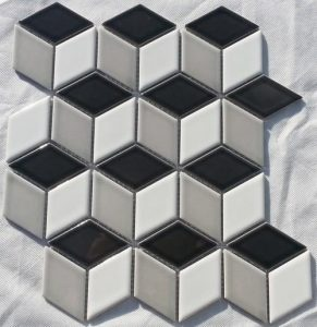 A cube shaped mosaic tile