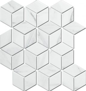 Give your bathroom or kitchen the luxury look it deserves with this porcelain, cube saped tile.