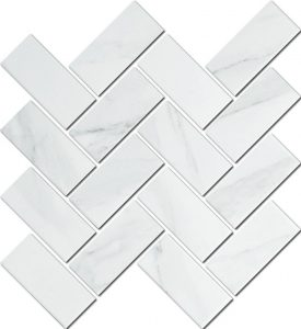 A beautiful white coloured mosaic herringbone tile used in kitchens and bathrooms.