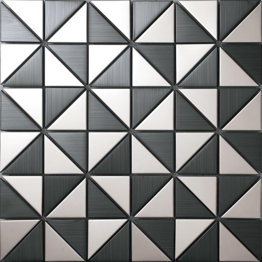 black and white stainless steel tiles.