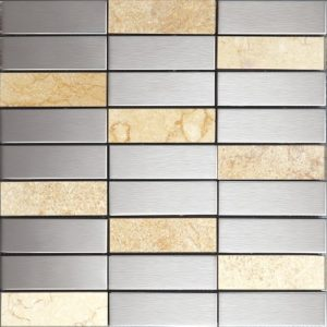 stone and stainless steel splashback tile perfect for bahrooms and kitchens.