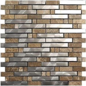 Stainless steel metal tile made from marble and stainless steel.