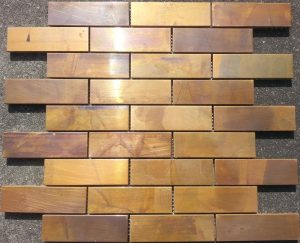 A beautiful copper subway mosaic tile. Commonly used in kitchen and bathroom splashbacks.