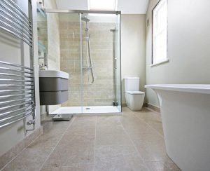 Amber Tiles Limestone used in Bathroom floor.