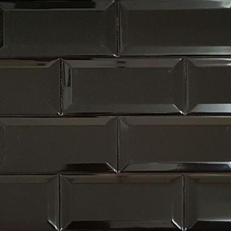 Spanish Splashback Tile Black Gloss Bevelled Subway