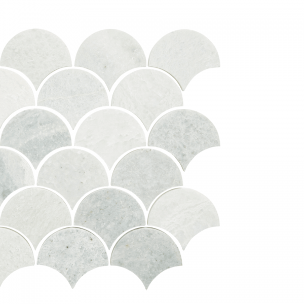 Silver Sage Fishscale Moroccan Marble Tile Kitchen